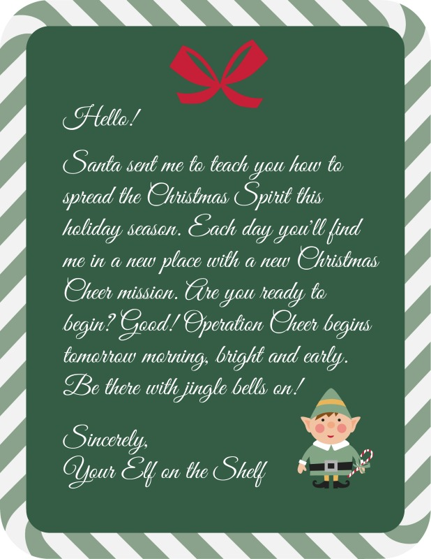 Elf on the Shelf Operation Cheer letter