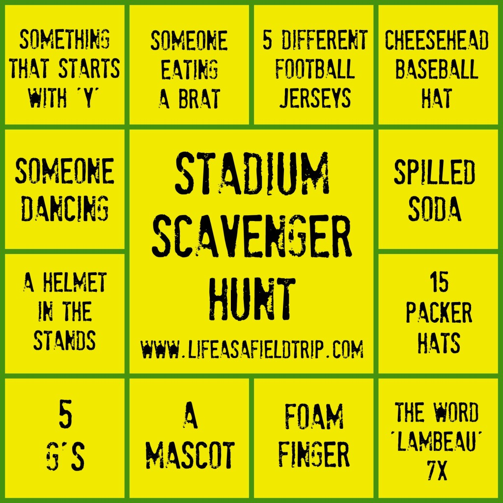 Stadium Scavenger Hunt Lambeau | Life as a Field Trip