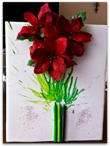 Rock Christmas Crayon-Art with Poinsettias & a Hair Dryer