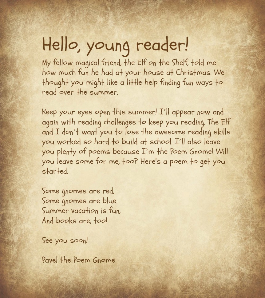 Poem Gnome Welcome Letter